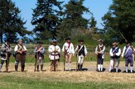 Colonial soldiers at Lexington Green.