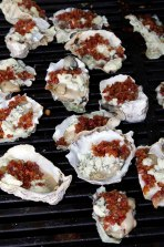 Oysters, bacon and melted blue cheese, yummm!