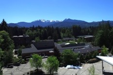 Beautiful Peninsula College surrounded by the Olympic Mountains.