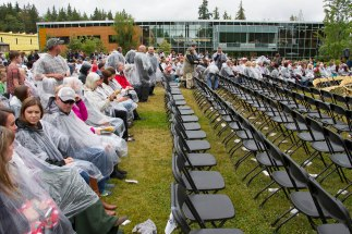 Peninsula College, Port Angeles, WA. Graduation of the 2016 class in the rain.